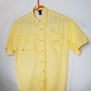 Reel Legends Mens Yellow Vented Button Down Sz XXL